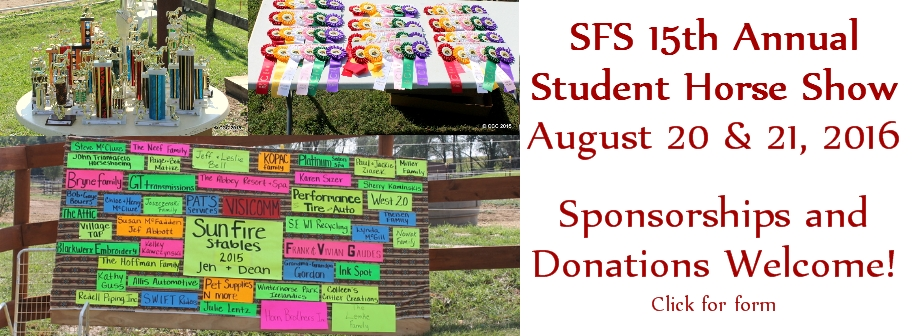 Sponsor or Donate to our 2016 SFS Student Horse Show